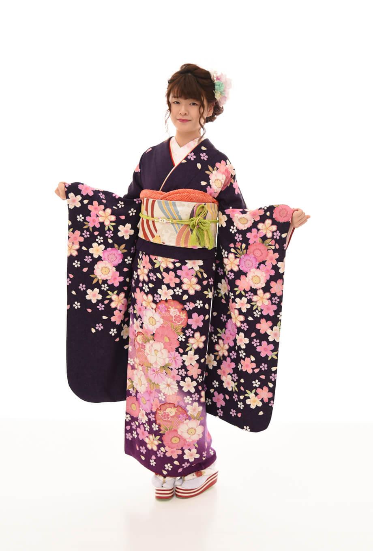 【振袖/着物/通販レンタル】純古典 紫2L