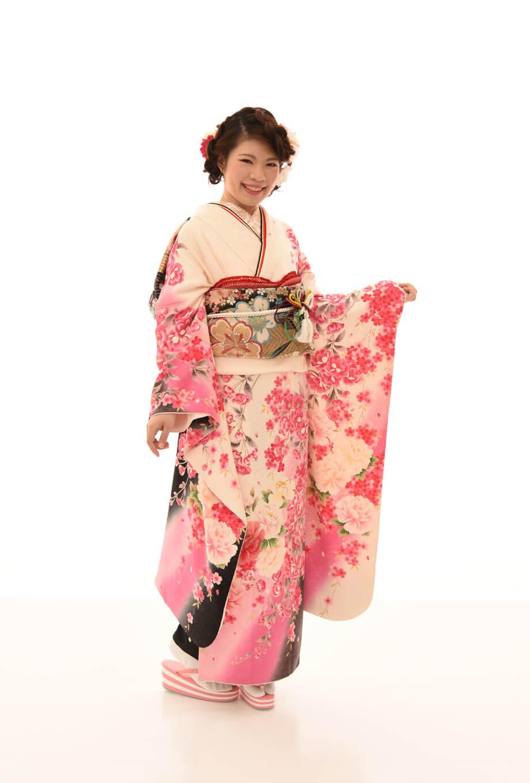 【振袖/着物/通販レンタル】レトロモダン 白L