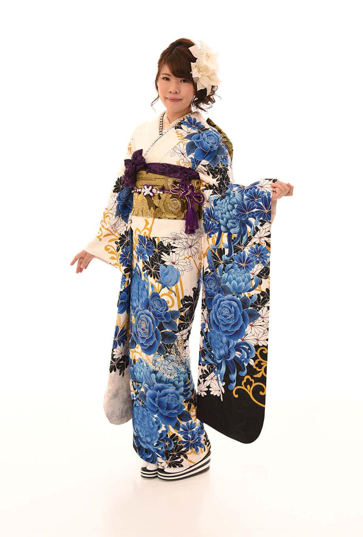 【成人式振袖/着物/通販レンタル】グラマラス 白2L
