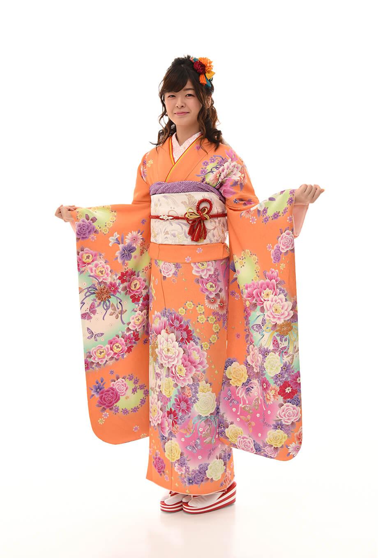 【振袖/着物/通販レンタル】グラマラス オレンジL