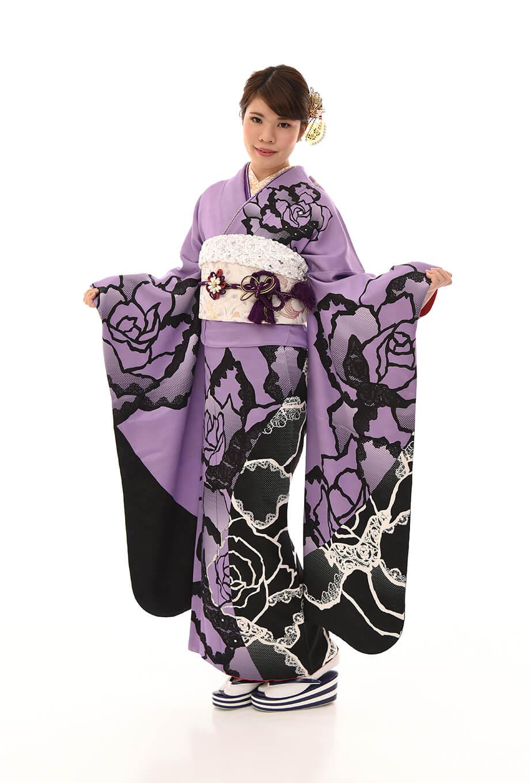 【振袖/着物/通販レンタル】グラマラス 紫/黒L