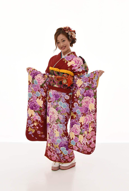 【振袖/着物/通販レンタル】グラマラス 赤/紫M