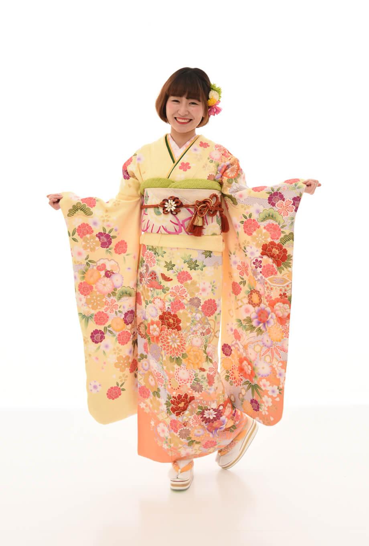 【振袖/着物/通販レンタル】レトロモダン 黄M