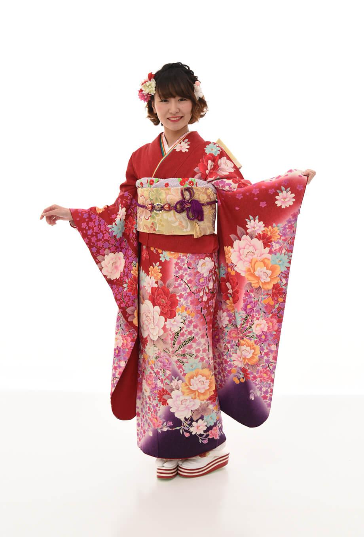 【振袖/着物/通販レンタル】グラマラス 赤M