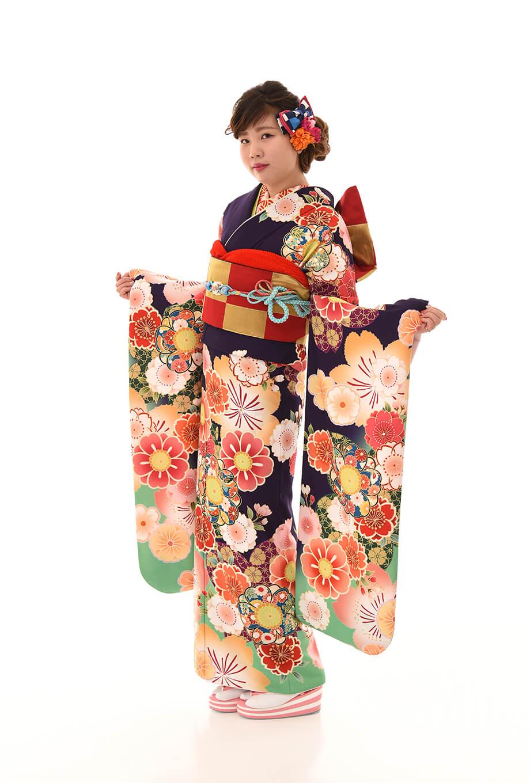 【振袖/着物/通販レンタル】古典レトロ 紫M